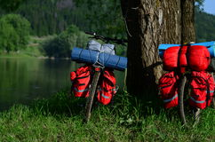 Bicycles camp. Standing bicycles waiting to unpack Royalty Free Stock Images