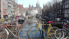 Bicycles on the canals of Amsterdam royalty free stock images