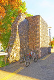 Bicycles at Canterbury City Walls in Canterbury in Kent Royalty Free Stock Images