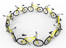 Bicycles circular pattern Royalty Free Stock Images