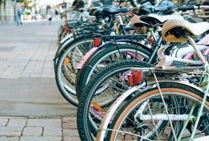 Bicycles. City parking for trucks velosipedov.Ekologichesky Stock Photography