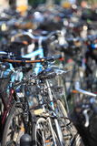 Bicycles on the city street blurred background Stock Photo