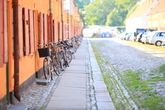 Bicycles on the city street Scandinavia Europe Royalty Free Stock Image