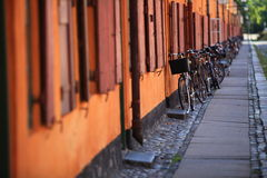 Bicycles on the city street Scandinavia Europe Royalty Free Stock Images
