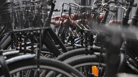 Bicycles close up. Many bicycles parked on the street stock footage