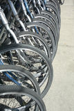 Bicycles. Close-up of a row of bicycles Royalty Free Stock Photo