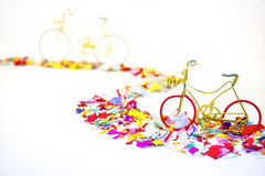 Bicycles on confeti road Royalty Free Stock Images