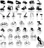 Bicycles and Construction vehicles Royalty Free Stock Image