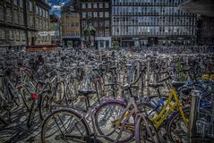 Bicycles in Copenhagen. Copenhagen, Denmark – September 27th 2014: a bicycle parking lot in Copenhagen with hundreds of bicycles Royalty Free Stock Photography