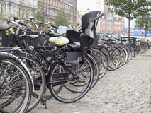 Bicycles in Copenhagen, Denmark. Copenhagen is one of the most—possibly the most—bicycle-friendly city in the world Royalty Free Stock Image