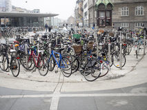 Bicycles in Copenhagen, Denmark. Copenhagen is one of the most—possibly the most—bicycle-friendly city in the world Royalty Free Stock Photos