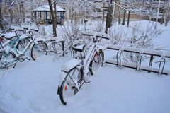 Bicycles covered in snow Royalty Free Stock Photography