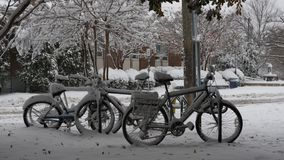 Bicycles covered with snow royalty free stock image