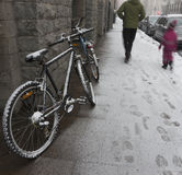 Bicycles covered in snow Royalty Free Stock Images
