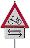 Bicycles crossing - traffic sign Royalty Free Stock Photos