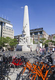 Bicycles on Dam Square Amsterdam Stock Image