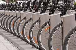 Bicycles in a docking station Royalty Free Stock Photo