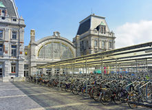 Bicycles on front of central railway station.Ostend Stock Images