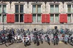 Bicycles in front of an old Dutch historic building Stock Photography