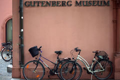 Bicycles on the Gutenberg Museum Royalty Free Stock Images