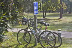Bicycles in Handicapped Zone Stock Photos