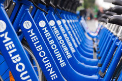 Bicycles for hire as part of the Melbourne Bike Share program. In Melbourne, Australia Stock Images
