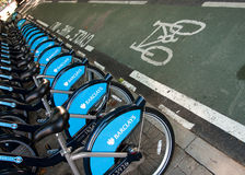 Bicycles for hire in London Stock Images
