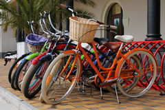 Bicycles for hire. Many multi-colored bicycles are rented for hire Stock Images