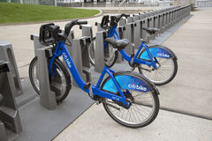 Bicycles for hire in New York USA Royalty Free Stock Image