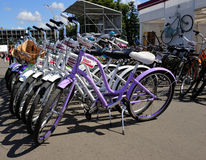 Bicycles for hire Royalty Free Stock Photo