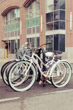 Bicycles in Hoboken. Bicycles parked in a bike rack along the Hudson River waterfront in New Jersey Stock Photos