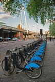Bicycles at Hungerford Bridge in Lambeth in London. Bicycles at Hungerford ang Golden Jubilee Bridge in Lambeth in London, the UK Royalty Free Stock Photo