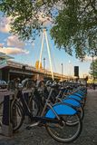 Bicycles at Hungerford Bridge in Lambeth London. Bicycles at Hungerford ang Golden Jubilee Bridge in Lambeth, London, the UK Stock Photography