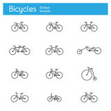 Bicycles icons line Royalty Free Stock Photography