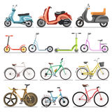 Bicycles and kick scooters wheel pedal vehicles vector isolated icons Royalty Free Stock Photo