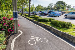 Bicycles lanes with info road sign marked on asphalt with the tr. Affic in background save the earth concept Stock Images