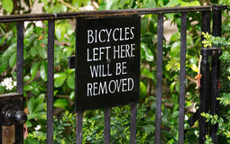 Bicycles Left Here Will Be Removed Stock Photos
