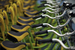Bicycles. In line for rent Stock Photography