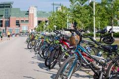 Bicycles Lined Up Near Lambeau Field stock image