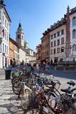 Bicycles In Ljubljana Stock Photos