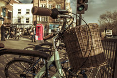 Bicycles locked in a rack in London, United Kingdom Royalty Free Stock Photos