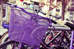 Bicycles locked in a street of Barcelona, Spain, filtered Royalty Free Stock Photos