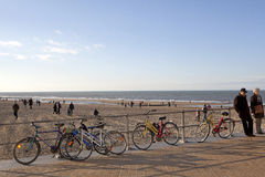 Bicycles locked to railings, Ostend, Belgium Stock Images