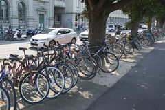 Bicycles in Lucern, Switzerland Stock Photo