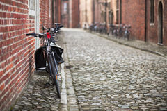 Bicycles on medieval street Royalty Free Stock Photo