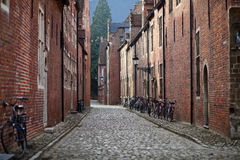 Bicycles on medieval street Stock Photo