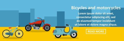 Bicycles and motorcycles banner horizontal concept Royalty Free Stock Image