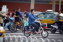 Bicycles and motorcycles in Beijing Royalty Free Stock Image
