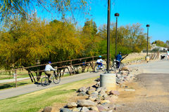 Bicycles on multi-use pathway Royalty Free Stock Image