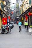 Bicycles on narrow street in Hanoi Royalty Free Stock Photography